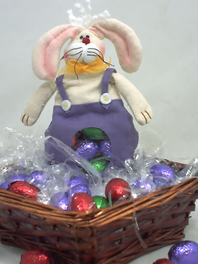 A bunny full of eggs in purple