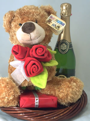 Brown Teddy rose and chocolates.