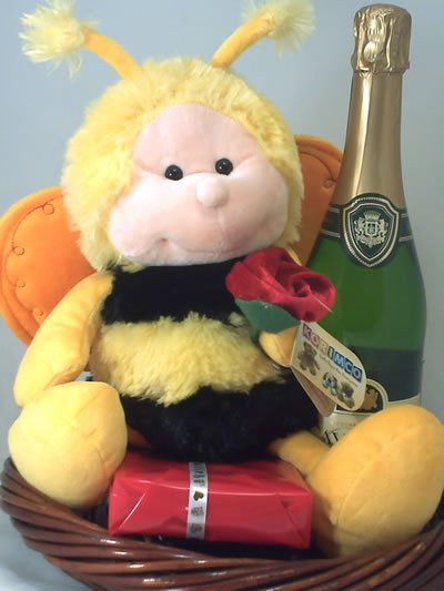 Bug me beetlebee with bubbly and chocolates.