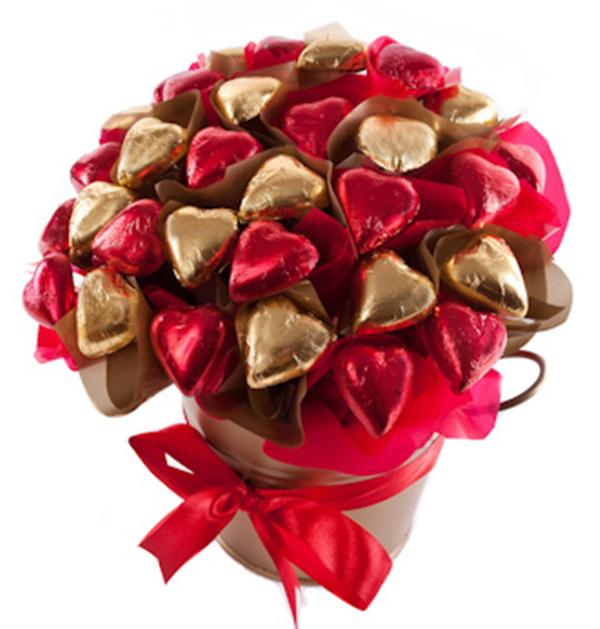How To Make Chocolate Flower Basket : Heart of gold chocolate bouquet hampers central